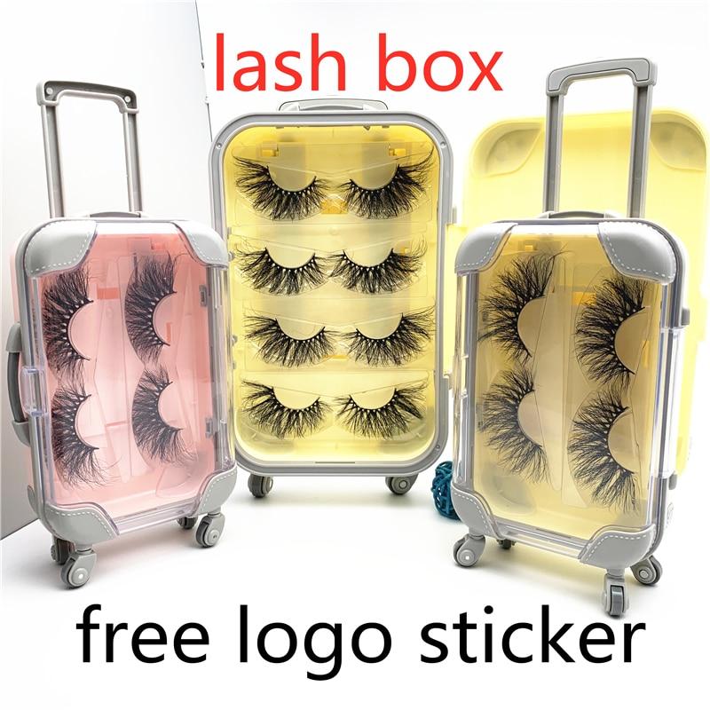 Wholesale 2020 New Hot Mini Luggage Lash Packing 25mm Real Mink Eyelash Box False Strip Eyelashes With Custom Logo Label Makeup