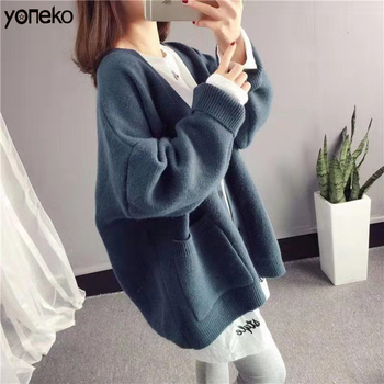 New V-neck large single-breasted cotton solid cardigan long-sleeved knitted sweater 2020 ladies solid color cardigan jacket slimming v neck color splicing patch pocket long sleeves cardigan for men