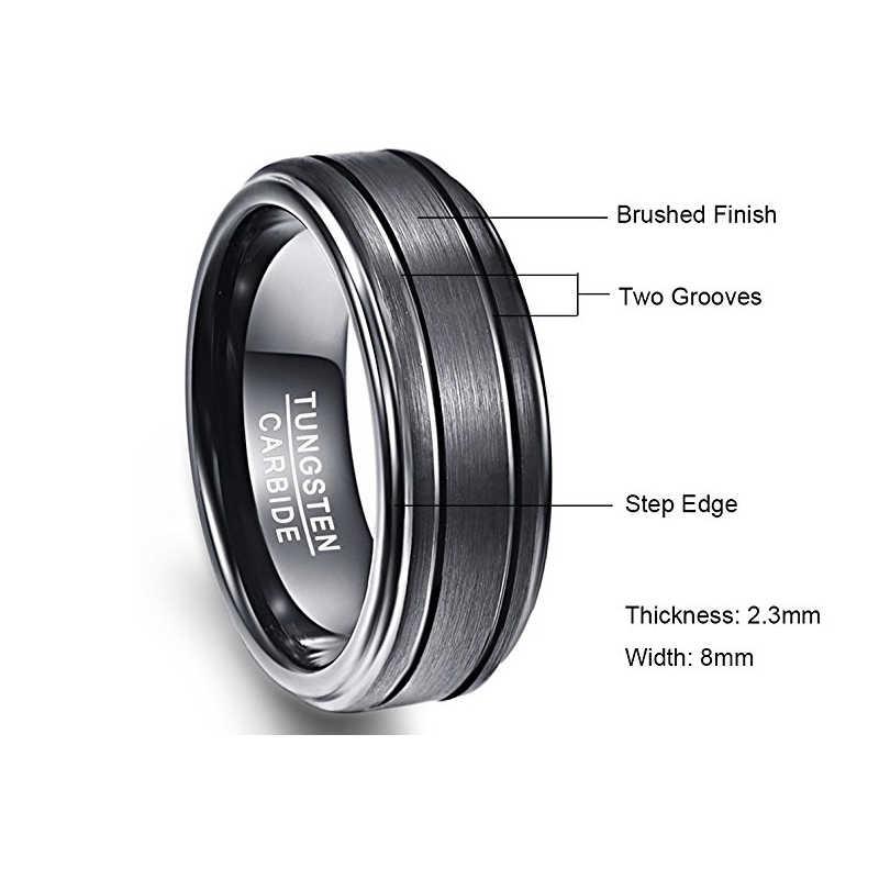 Nuncad งานแต่งงานแหวนหมั้นแหวนผู้ชายสีดำ 8 มม.กว้าง 2.3 มม.หนาแหวนทังสเตนคาร์ไบด์สำหรับชาย Dropship T021R
