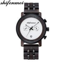 Shifenmei relógios de madeira dos homens 2019 militar chronograph relógio de quartzo marca luxo masculino relógios esportivos à prova dwaterproof água relógio de madeira masculino