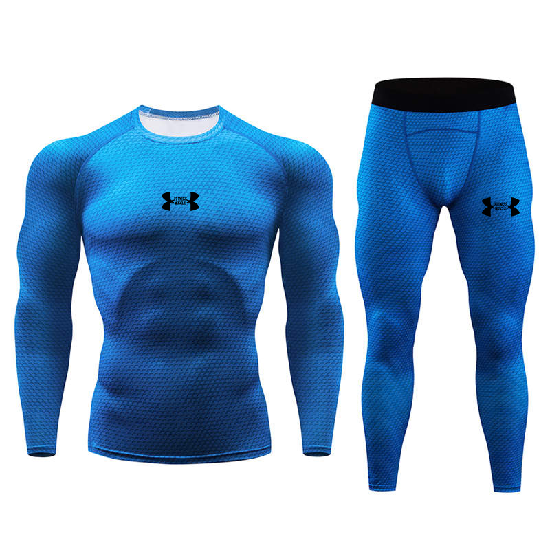 New Men's Running Thermal Underwear Set Compression Tight Tracksuit Men Training Fitness Long Johns Shirts Male Gym Sports Suit
