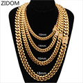 Men Hip hop chain necklace fashion Stainless Steel 8-18mm width/20-30inch long Miami Cuban Chains necklace Male Hiphop jewelry