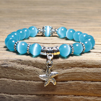 New Arrival Women Opal Bracelet Natural Stone Beautiful 5 Colors Smooth Charm Braslet Cute Starfish Pendant Braclet Jewelry Gift 5