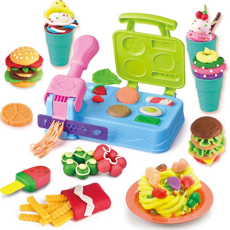 Children Color Clay Creative Playdough DIY Hamburger Plasticine Noodle Machine Cone Mold Kitchen Toys Set Handmade Cloud Slime