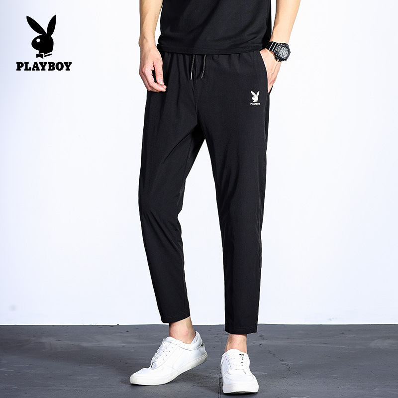 Playboy High Quality New Men's Casual Pants Cropped Pants Men's Slim Feet Men's Pants Solid Color Wild Trousers