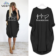 цена на VOZRO Round Neck Long Sleeve Season Sexy Winter Maxi Autumn Black Casual Sweater Dress Women Vestido Clothes Befree Plus Size