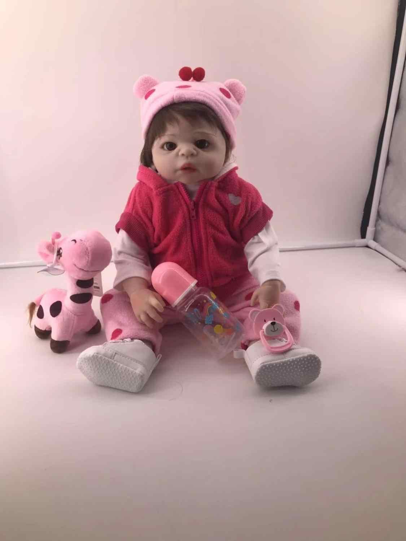 47 см bebe reborn renascer baby girl boneca em tan pele lol brinquedo de Banho de corpo inteiro de silicone bonecas xmas Gfit