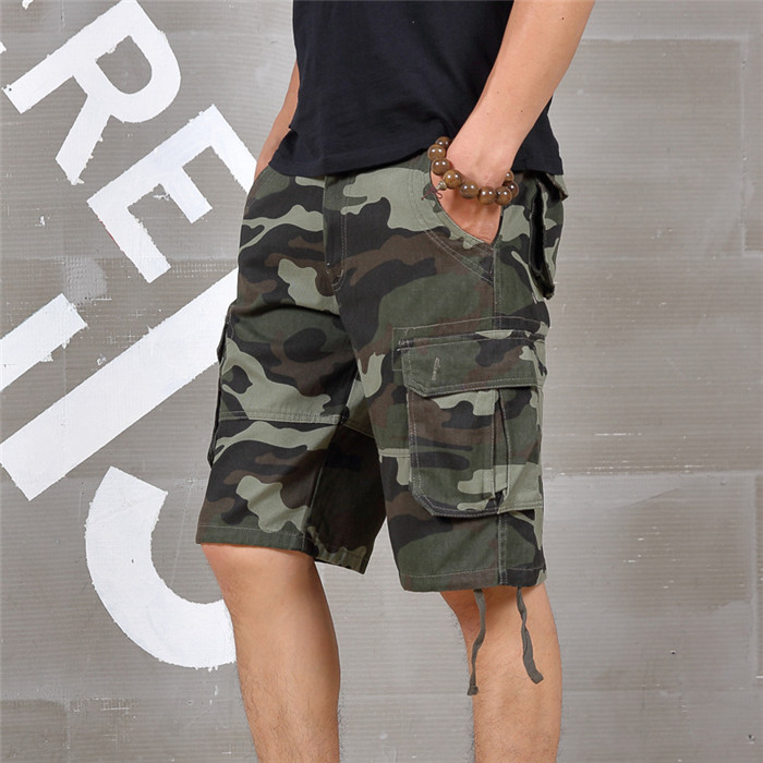 SELX Men Utility Casual Multi-Pockets Outdoor Baggy Plaid Print Cargo Shorts