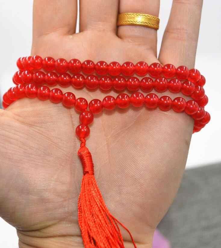 Biżuteria z pereł naszyjnik HOT 6mm buddyzm tybetański 108 czerwony kamień sznur koralików modlitewnych mala darmowa wysyłka