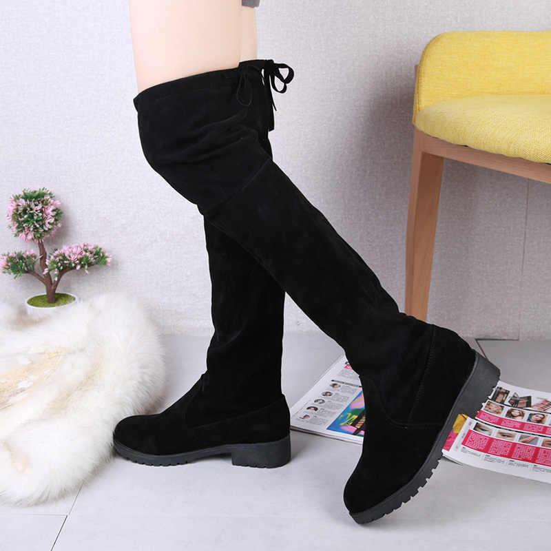 サイズ 35-41 冬膝のブーツの女性ストレッチ生地の腿高セクシーな女性の靴ロングボタ Feminina zapatos デ mujer