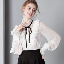 Vintage Real Silk Shirt Womens Tops and Blouses Long Sleeve Blouse Spring Clothes Elegant Shirts Ladies Blusas 2019 5359(China)