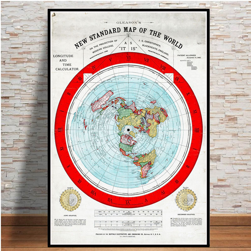 Poster And Prints 1892 Flat Earth Map Movie World Map Modern Painting Art Wall Pictures For Living Room Home Collection Decor