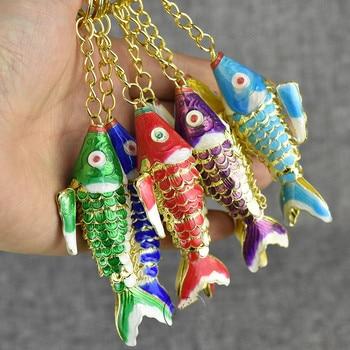 10pcs/lot Sway Lifelike Cute Koi Fish Keychain Keyring Chinese Cloisonne Carp Keychains Women Men Enamel Charm Metal key Ring