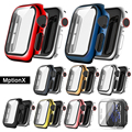 Case Screen Protector for Apple Watch 44 40 42 38 ,Full Defense Coverage Tempered Glass Plating Cover for iwatch SE 6 5 4 3 2 1