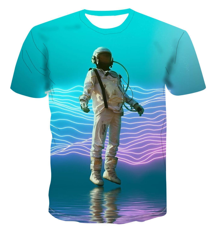 2020 Popular 3d Trendy Fashion Creative Astronaut Cartoon Color Picture T -Shirt Men 'S Trend Cool And Versatile S -6xl