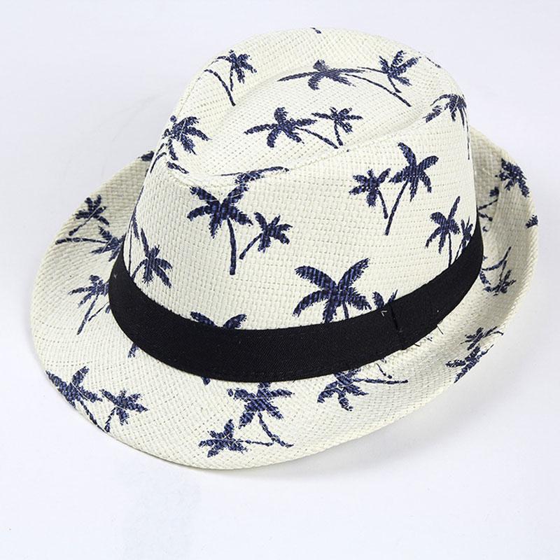 2019 simple Fashion Sunscreen Summer Beach hat Female Casual Panama hat Jazz men printing Loose Straw cap Flat brim Sun hat in Women 39 s Sun Hats from Apparel Accessories