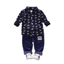 Male baby spring and autumn two-piece childrens clothing shirt long sleeve suit thin vests