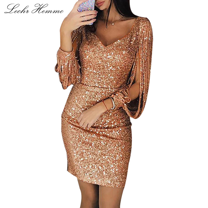 2019 New Evening Dress Sequins Formal Party Dress V-Neck Sparkling Tassel Long-Sleeved Slim Bag Hip Dress