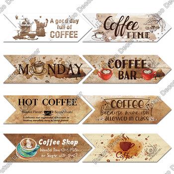 Putuo Decor kawa drewniana strzałka znak ściana z drewna tablica pomysł na prezent drewno strzałka Panel do dekoracji ścian kawiarni nieregularny znak do zawieszenia tanie i dobre opinie CN (pochodzenie) AMERYKAŃSKI STYL Nieregularne AS0025 Drewno drewniane 3 1x10inch 1 x Wooden Plaque 1 X Flex Rope