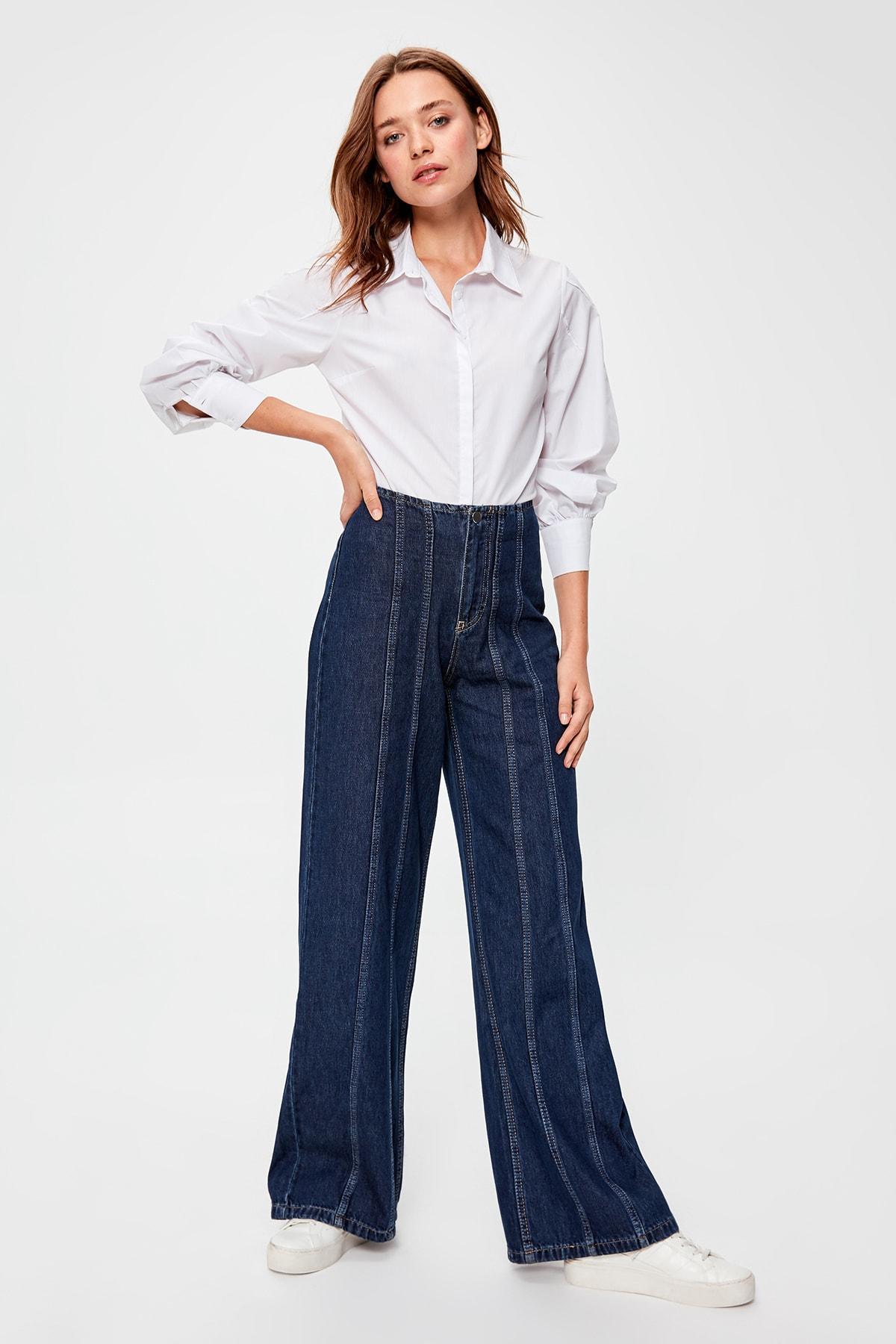 Trendyol Blue Stitch Detail High Bel Wide Leg Jeans TWOAW20JE0215