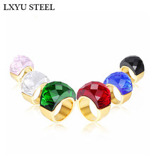 Luxury Bohemia Crystal Women Wedding Rings Gold/Silver Stainless Steel Colorful Stone Finger Rings For Party Engagement Jewelry engagement rings for women wedding jewelry big crystal stone ring stainless steel jewelry