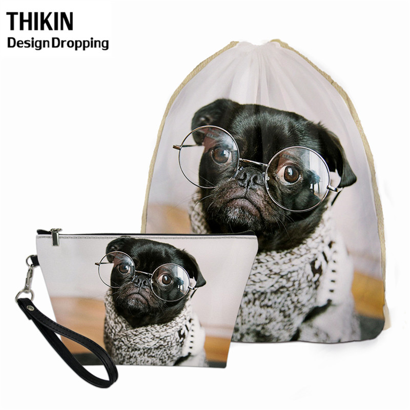 THIKIN 2PCS Kawaii Pug Dog Print Pattern Women's Summer Travel Drawstring Beach Bag Fashion Mini Leather Comestic Pouch For Girl