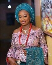 Zilver Kleur Pailletten Lace Stoffen Hoge Kwaliteit Nigeriaanse Kant Stoffen met Pailletten Afrikaanse Tule Mesh Kant voor Bruiloft APW2792B