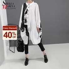 Estilo coreano mulher manga longa camisa de impressão branca vestido pintura mais tamanho em linha reta senhora casual midi vestido solto robe femme 5459