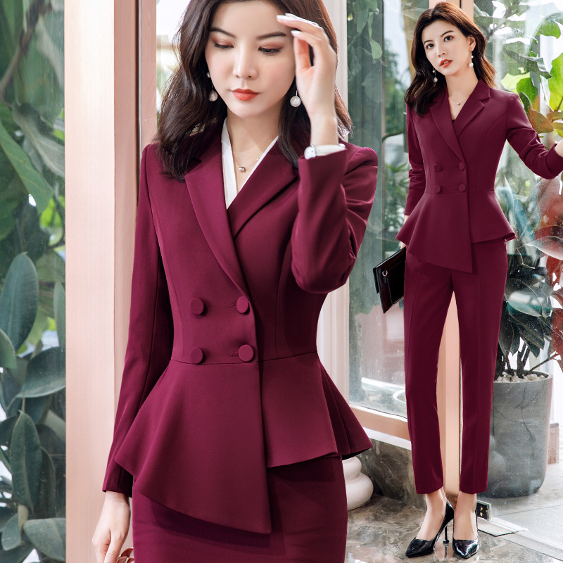 Wine Red Black Female Elegant Women's Pants Suits Trouser Suit Dress Jacket Costumes Office Clothing Two Piece Set Top And Pants