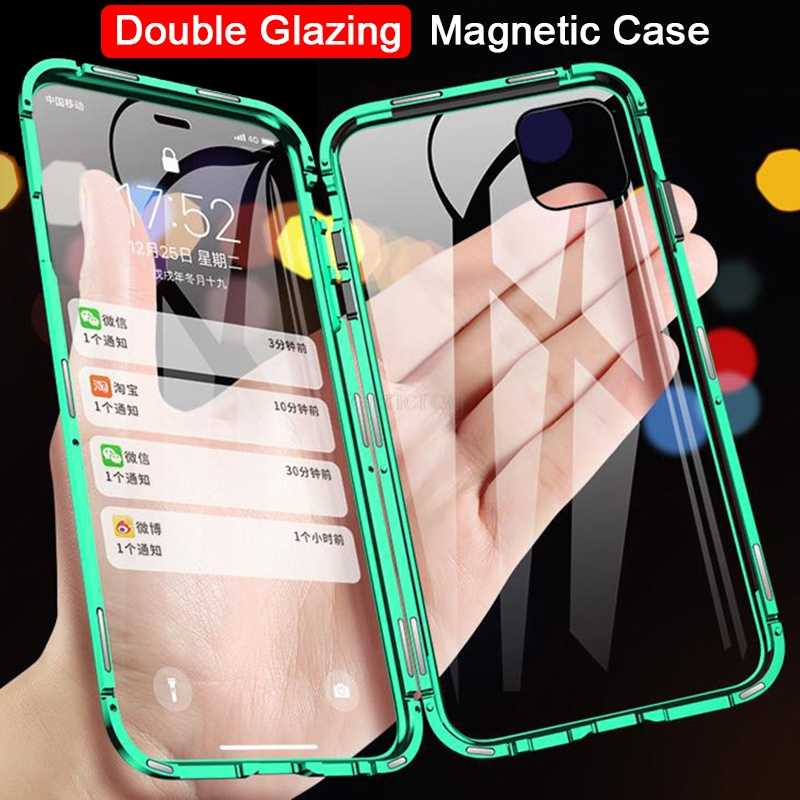 360 Magnetic Case Logam untuk iPhone 11 Pro X XR X Max Double Sisi Tempered Kaca Penutup untuk iPhone 11 Pro 6S 7 8 6 Plus Glass Case