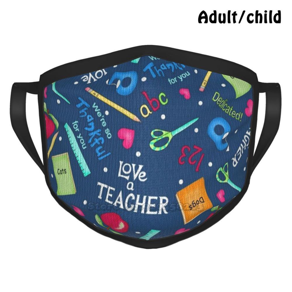 Маска для лица многоразовая с забавным принтом, многоразовая маска с надписью Love A, Phyllis Dobbs, надпись «Love A учитель», надпись «слова и искусств...