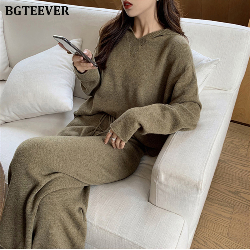 Casual Sweater Tracksuit O-neck Pullovers & Loose Pants Hoodies Women Sweater Set Knitted Set Autumn Winter Knitted 2 Pieces Set