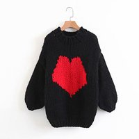 Autumn Winter knitted sweater women pullover top O neck full sleeve heart shaped chic lady cute casual warm sweater femme