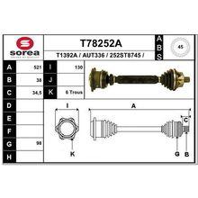 Привод правый 521mm ABS\ Audi A6 98 EAI T78252A