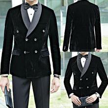 One Coat Black Men Suit Double Breasted Jacket Slim Fit Velvet Best Man Groom Party Tuxedo Groom Suits For Men Wedding 2020