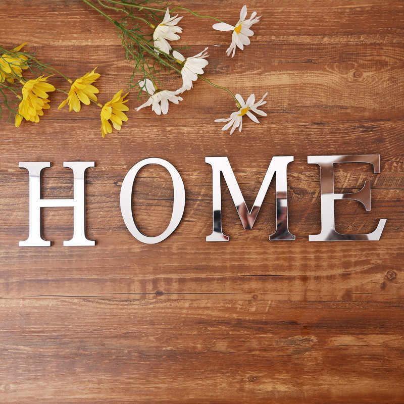 Venta caliente 3D espejo acrílico pared pegatinas creativo 26 letras inglesas adhesivos para sala de estar dormitorio DIY arte hogar decoración