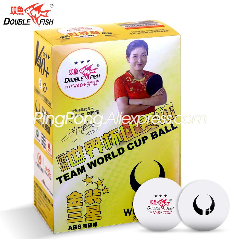 Double Fish GOLD 3-Star V40+ Table Tennis Ball (ITTF WORLD CUP BALL) Plastic ABS Original DOUBLEFISH 3 Star Ping Pong Balls