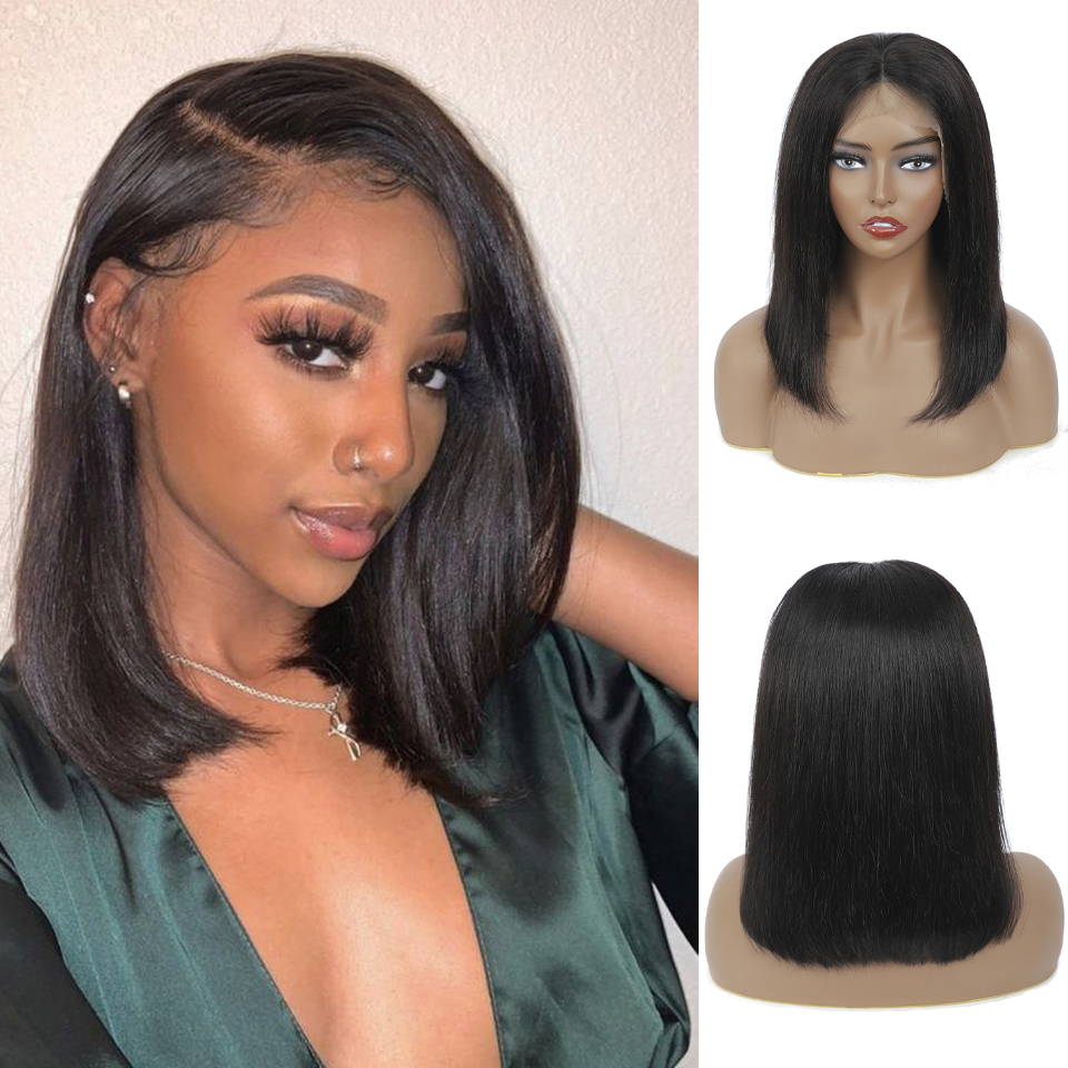 13x4 Lace Frontal  Wig  Straight Wave  Short Bob Wig With Pre Plucked Hairline 180% Density Bob Wig 2
