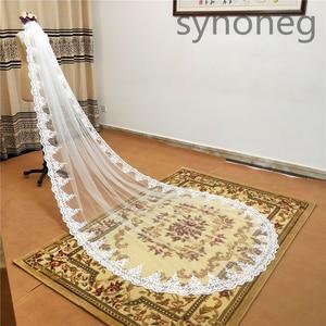 Image 2 - Veu de noiva longo dantel aplikler bir katmanlar 3M 4M 5MLong Veils düğün Veils tarak düğün aksesuarları gelin Veils