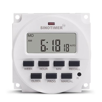 цена на SINOTIMER AC 220V Weekly 7 Days Programmable Digital Time Switch Relay Timer Control Din Rail Mount for Electric Appliance