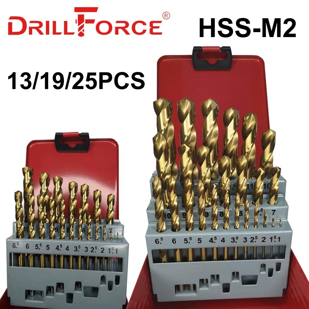 Сверло DRILLFORCE 13/19/25 шт. HSS M2 с титановым покрытием для сверления металла и деревообработки, набор сверл 1,0 ~ 13 мм, электроинструменты, аксессуар...