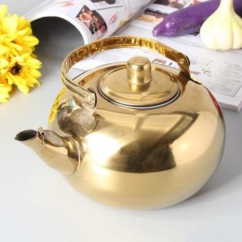 Чайный горшок из нержавеющей стали, золотой чайник с ситечком для чая, Открытый походный цветочный чайный набор, Чайник Пуэр, кухонный чайни...