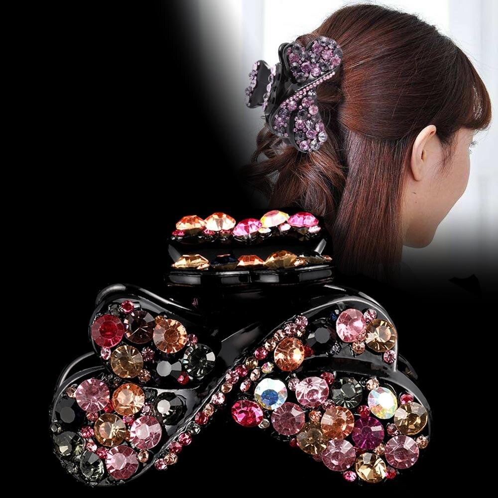 Haimeikang Shiny Rhinestone Hair Claws Headwear Women Fashion Ponytail Holder Hair Accessories Ladies Party Festival Headdress