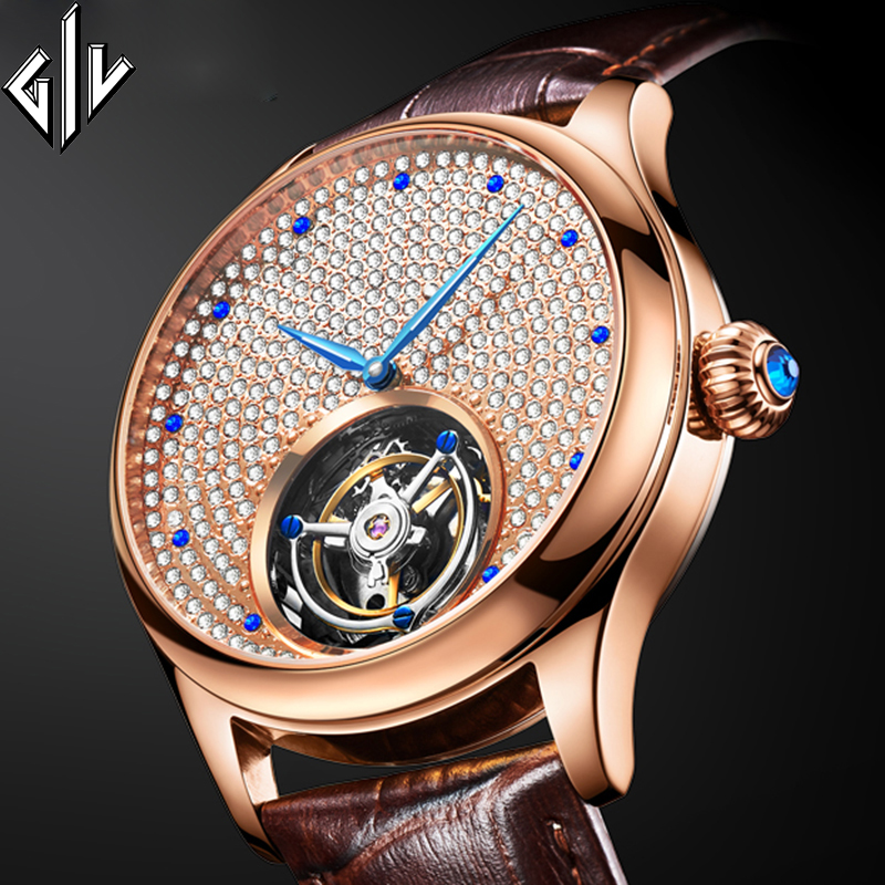 GIV Watch Original Tourbillon Mechanical Sapphire Mens Watches Rhinestone Men Clock Top Brand Luxury Relogio Masculino