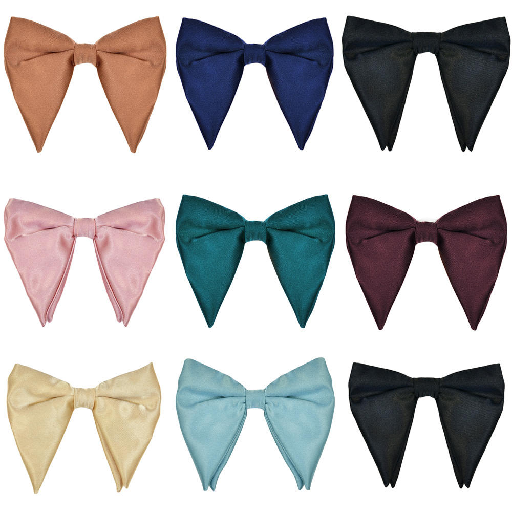 Men Satin Oversized Bow Tie Wedding Party Tuxedo Business Solid Big Bow Tie