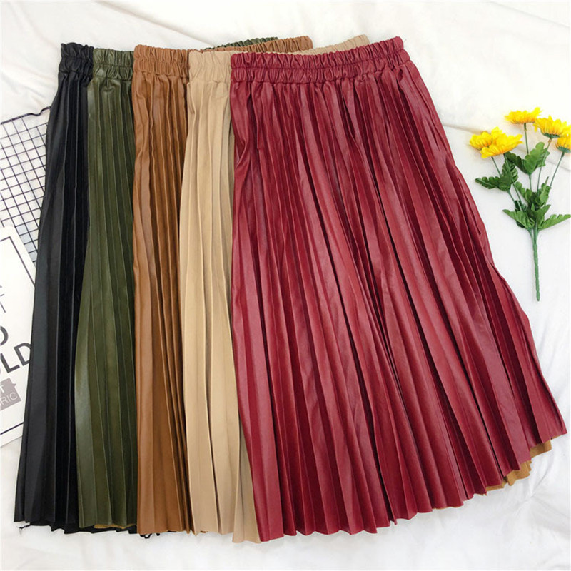 Uumaysari Boutique New Pleated Skirt Spring Korean Elastic Waist High Waist Leather Skirt Medium Length A-line Skirt Lady