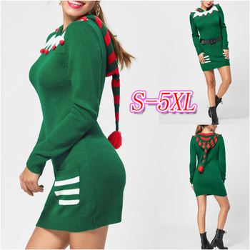 2019 Autumn Winter New Green Warm Knitting Christmas Hooded Sweater Dress Women Long Sleeve plus size Fashion Slim Mini Dress new fashion plus size women s green green dress korean version of summer slim green dress 2126