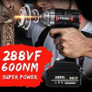 Бесщеточный ударный гайковерт 288VF 600N.M, бесщеточный Переключатель изменения скорости, литий-ионный аккумулятор, электрический гайковерт, эл...