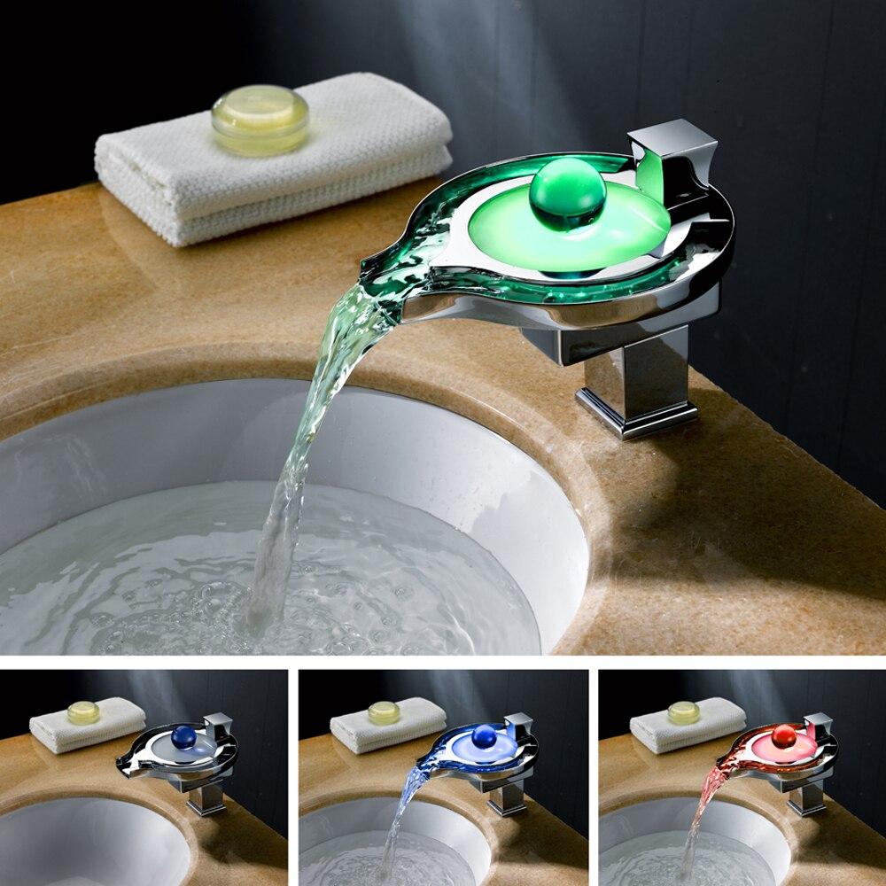 Accueil 3 couleur thermochromique LED cascade robinet moderne salle de bain cuisine robinet mitigeur lavabo robinet cuivre évier robinet