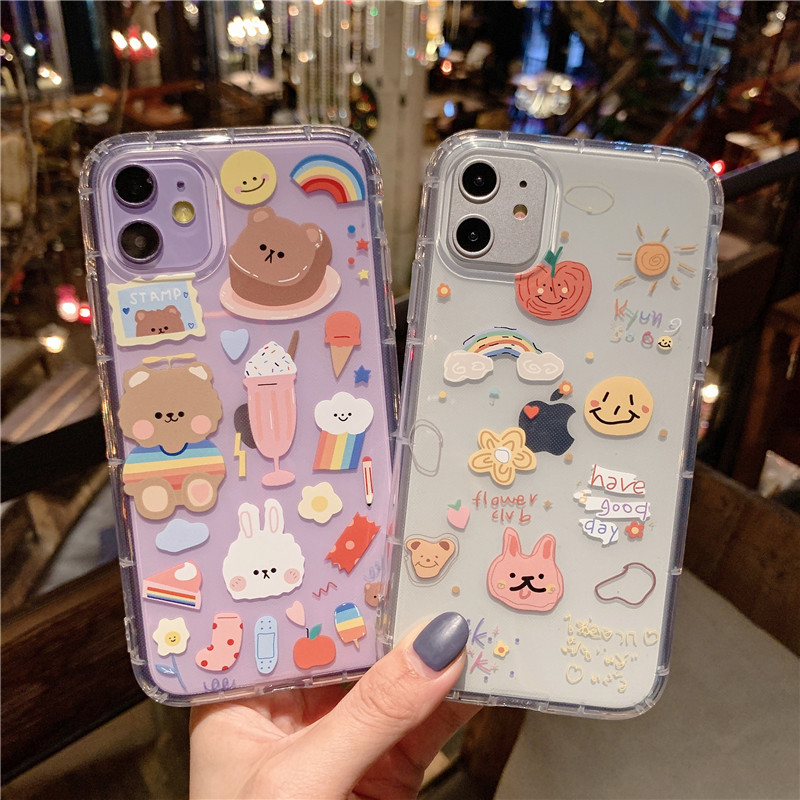 Shockproof Cute Rabbit Bear Phone Case For iphone 11 Pro X XS Max XR Clear Cartoon Cover For iphone 7 8 plus Soft TPU Back Case